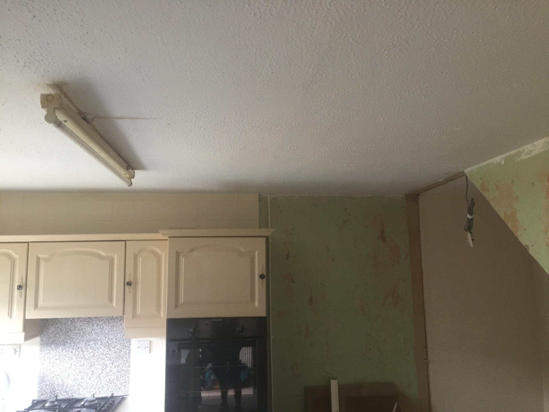 Before - Fluorescent light fitting in a kitchen