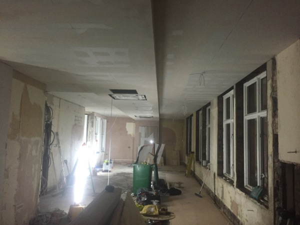During a complete re-wire of 3 floors of office in central London, Bury Street.